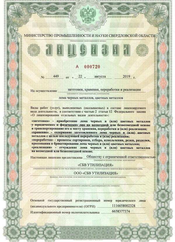 Лицензия на осуществление заготовки, хранения, переработки и реализации лома черных и цветных металлов (стр. 1)