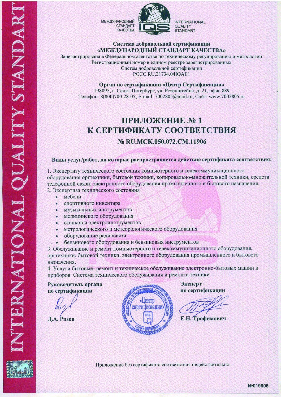 Сертификат соответствия (приложение)