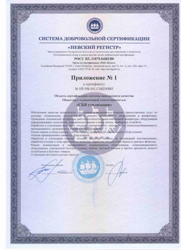 Приложение №1 к Сертификату соответствия удостоверяющего систему менеджмента качества организации
